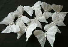 9 WHITE GLITTER REAL  FEATHER BUTTERFLIES 10cm CRAFT/CAKES & OTHER DECOR