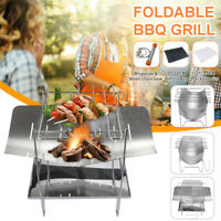 Folding Fire Pit BBQ Grill Camping Picnic Stainless Steel 38.5x20x27CM Portable