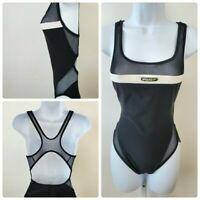 Speedo Size 8 Black Mesh Racer Back One Piece Swimsuit