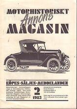 Motorhistoriskt Magasin Annon Swedish Car Magazine 2 1985 Opel 032717nonDBE