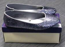 CHEROKEE Fleta GLITTER Pewter Flats Ballet Shoes Girls Youth Size 6 w/BOX