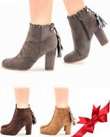 Women's Ladies Block Heel Tassel Suede Shoes Zip Up Ankle Sock Fit Boots UK Size