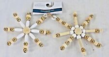 NEW Wondershop Target Wooden Snowflake Star Tree Ornaments Wood White Gold Lot12