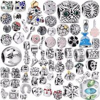 Silver Charm Beads Fit Sterling 925 Necklace European Bangle Chain Bracelets DIY