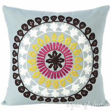 "16"" Gray Grey Yellow Colorful Decorative Embroidered Couch Sofa Pillow Cover Cas"