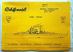 Das Schiffsmodell 3204137 Bauplan Tirpitz / Bismarck 1:200