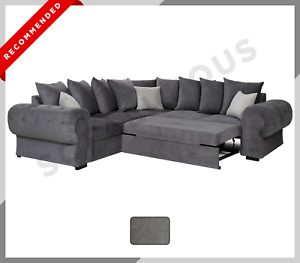 CHESTERFIELD NIKO Corner Sofa Bed with Storage Scatter Cushions Fabric Dark Grey