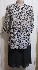 LADIES BLOUSE WHITE BROWN AND CREAM 3/4 SLEEVES UNDERARM 42 INCHES