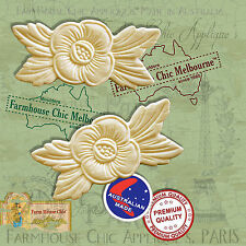 2 x Shabby Chic French Furniture Appliques Flowers Vintage Decor Art Moldings