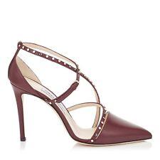 JIMMY CHOO 'tiff' Vino Dark Red Heels Shoes Point Toe Strappy Size Uk 7 Eu 40
