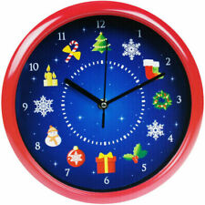 Christmas Musical Wall Clock Decoration Singing Xmas Carols Tunes Home Office UK