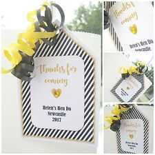 5 x BLACK/GOLD PERSONALISED CRYSTAL HEN PARTY HEN DO GIFT TAGS LABELS PARTY