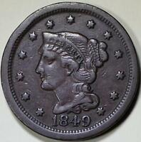 1849  Braided Hair Large Cent - ** VF+ **  N-26, R3 - Die State B - Scarce