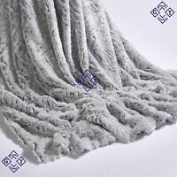 150x200cm Luxury Throw Silver Grey Wolf Faux Fur Camping Blanket Sofa Chair Bed