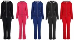 Ladies Lounge Jogging Sports Hooded Fleece Lined Pant Tracksuit Set American Sty