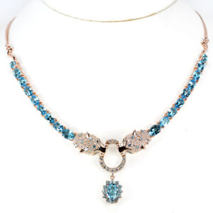 """GENUINE AAA SWISS BLUE TOPAZ & WHITE CZ STERLING 925SILVER TIGER NECKLACE 18.25"""""""