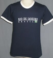 New Rio De Janeiro Brazil Flag Adult Small Blue Ringer T-Shirt (S Soccer Futbol)