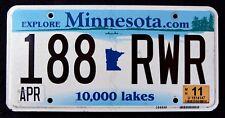 "MINNESOTA "" 10.000 LAKES - 188 RWR "" MN Graphic License Plate"