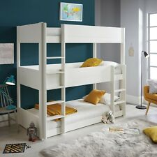 Sweden Solid Wood White Triple Sleeper Three Tier Bunk Bed 3ft Single Mattress