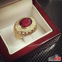 14k Gold Genuine Diamond Ruby Ring Size 7 Estate Mens Ross Birdman Vintage Look