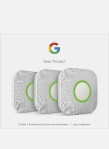 Google Nest Protect Smoke + Carbon Monoxide Alarm (2nd Gen), Battery, Pack of 3