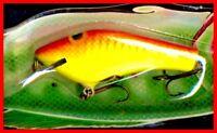 Vintage 1987 POE'S SUPER CEDAR 3.5-inch Yellow / Red Crawdad Fish Lure ( # 835 )
