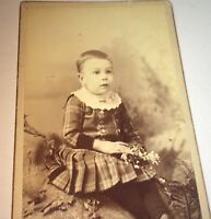 Antique Victorian American Fashion Child, Flowers! Springfield, MA CDV Photo! US