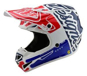 TROY LEE DESIGNS TLD SE4 YOUTH HELMET FACTORY WHITE BLUE RED KIDS MOTOCROSS MX
