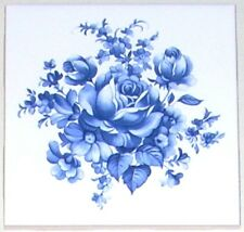 "Blue Delft Design Rose Flower Ceramic Tile Accent 4.25"" x 4.25"" Kilnfired Decor"