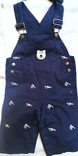 NEW NAVY BLUE RACE CAR OVERALLS LONG PANTS w/ BEAR 6 9 MONTHS BABY INFANT BOYS