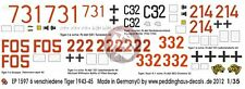 Peddinghaus 1/35 Various Tiger I Tank Markings WWII No.4 1943-45 (6 tanks) 1597
