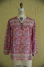 Vtg 1970s Indian Sheer Gauze Cotton Boho Hippie Festival Top Blouse Deadstock S