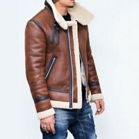 Winter Men's Fur Lined Leather Motorcycle Jacket Casual Outwear Warm Cotton Coat