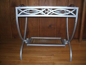 Vintage Wrought Iron W/ Beveled Glass French Deco Console Bar/ Tray Table