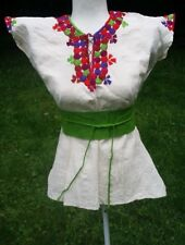 Las Ruedas Mexican Blouse Top Belt Embroidered Flowers Chiapas Ivory Medium D010