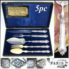 Antique French Sterling Silver 5pc Serving Implement Set: Meat, Salad & Fish