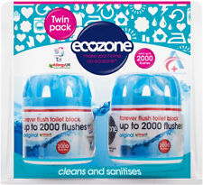 Écozone Forever toilette Bloc 2000 Bleu Vegan Twin Pack nettoie sanitizes