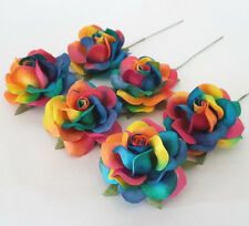 25 Rainbow Paper Flowers Wedding Party Headpiece Topper Card Decoration R77-RB