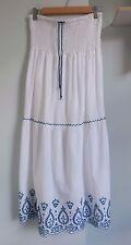 M&S Per Una White Cotton Strapless Beach Dress Elastic Shirring Embroidery UK 12