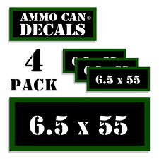 """6.5 X 55 Ammo Can 4x Labels Ammunition Case 3""""x1.15"""" stickers decals 4 pack"""