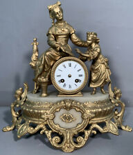 19thC Antique Victorian Era Lady & Child Book Statue Figural Old Mantle Clock