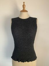 Theory Tank Top Knitted Alpaca Blend Dark Grey Textured Knit Size Small UK 8