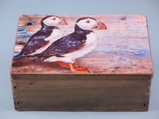 Wooden chest with Pair of Printed Puffins on Lid