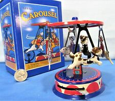 Horse Carousel ~ Carnival Style ~ Wind Up Tin Toy ~ 4 Horses & Riders