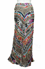6580 FREE PEOPLE NWT MULTI-COLOR DARK NATURE 100% COTTON MAXI SKIRT SIZE:10 $198