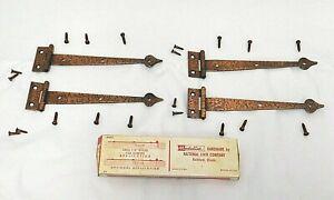 """NOS Medalist Flush """"Williamsburg"""" Strap Hinges Old Copper Hammered 7 5/16"""