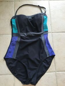 Grey Mix Strapless Halterneck Swimsuit Size 12  Padded Bust Support