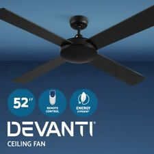 Devanti Black Ceiling Fan With Remote Fans 52'' 130cm 4 Wooden Blades Reversible