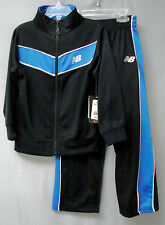 NEW BALANCE 2-Pc Boys' Poly/Flannel Track Suit-Black/Royal-Size 4-NWT-$46