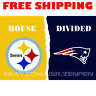 Pittsburgh Steelers vs New England Patriots House Divided Flag Banner 3x5 ft NEW